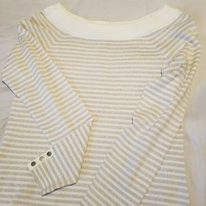 NWT Ivory & Gold Thin Striped Sweater Open Neck
